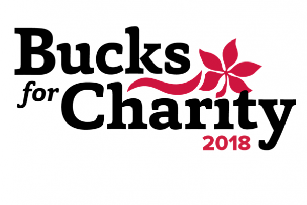 Logo with the words Bucks for Charity 2018 and a red buckeye leaf