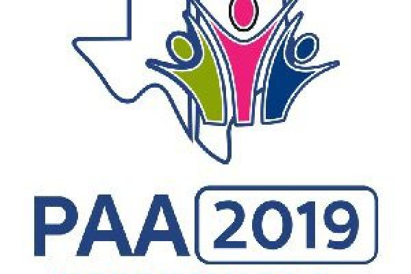 Logo with three body-like shapes reaching upward, next to the dates/year and the words PAA Conference